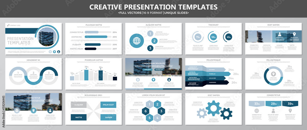 Fotografie, Obraz  Set of blue elements for multipurpose presentation template slides with graphs and charts