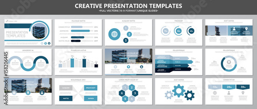 Foto  Set of blue elements for multipurpose presentation template slides with graphs and charts