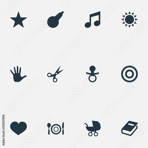 Valokuvatapetti Vector Illustration Set Of Simple Kid Icons