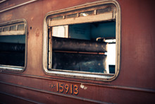Red Train Of Sri Lanka Railway Station