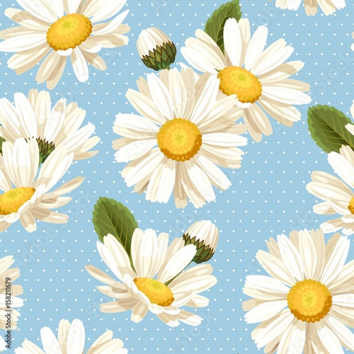 camomile-and-polka-dot-seamless-background