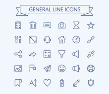 General Vector Icons Set 2. Thin Line Outline 24x24 Grid.Pixel Perfect