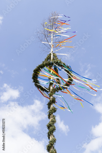 Poster European Famous Place typical maypole in front of sky