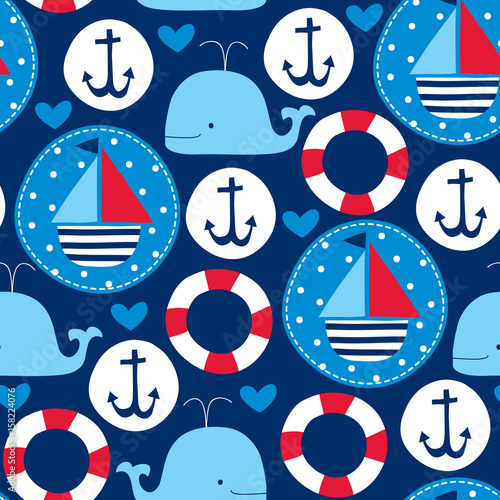 Photo seamless sailing ships and whales pattern vector illustration