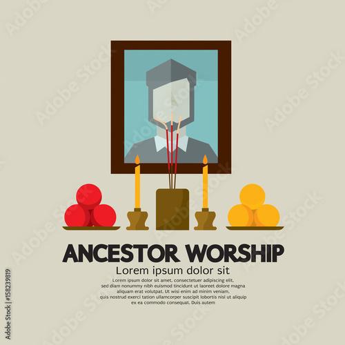 Photo Ancestor Worship Vector Illustration