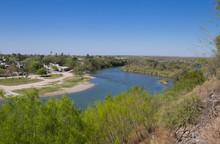 Winding Rio Grande River Separating U.S. And Mexico