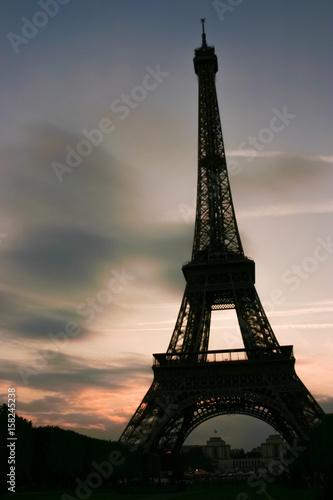 Fototapety, obrazy: The Eiffel tower silhouette, Paris, France.