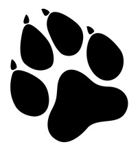 Paw Prints. Logo. Vector Illustration. Isolated Vector Illustration. Black On White Background. EPS 10