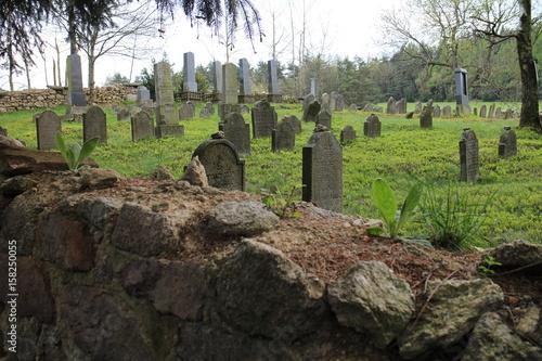 Keuken foto achterwand Begraafplaats Tombstones on Jewish graveyard in Olšany near Jindřichuv Hradec, Czech republic