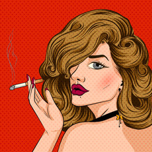 Pop Art Style Retro Lady Smoki...