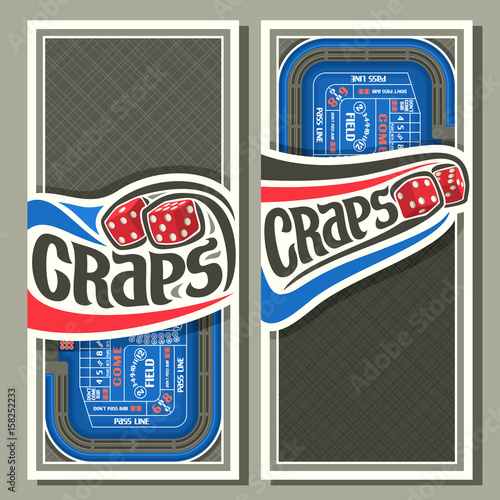 фотография Vector vertical banners for Craps gamble: thrown pair red cube dices flying on b