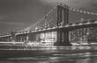 Manhattan bridge at night with black and white tone