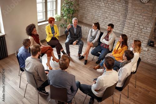 Obraz Business people corporate communication meeting office. - fototapety do salonu