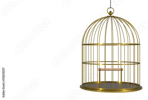 Fotografie, Obraz  Empty bird golden cage Isolated on white background, 3D rendering