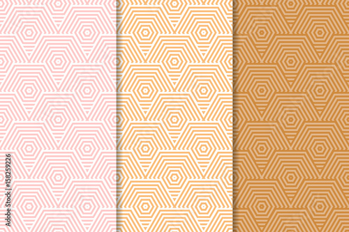 Poster Artificiel Colored collection of geometric seamless patterns