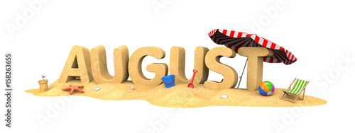 AUGUST- word of sand. 3d illustration