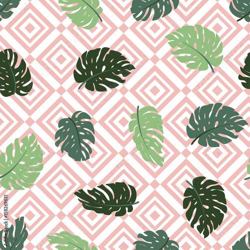 egzotyczne-liscie-i-geometryczny-ornament-powtarzalny-motyw-recznie-rysowane-tropikalny-wzor