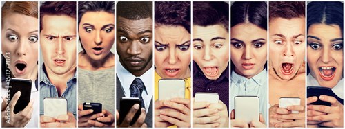 Fotografie, Tablou Group of people men and women looking shocked at mobile phone
