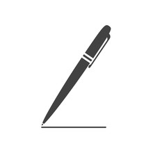 Classical Ballpoint Pen Drawing The Line. Flat Style Icon. Vector Illustration