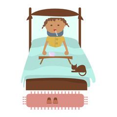 Sick little girl with fever laying in bed, measuring temperature with thermometer. Ailing children suffering from cold or flu virus. Vector flat design illustration isolated on white background