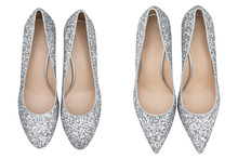 Women  Gray Shoes With Glitter