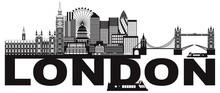 London Skyline Black And White...
