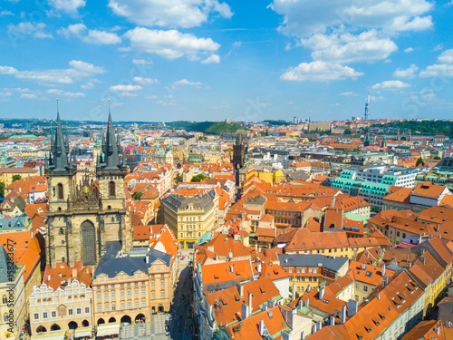 Spoed Foto op Canvas Mediterraans Europa Prague Old Town Square and Church of Mother of God before Tyn in Prague, Czech Republic. Architecture and landmark of Prague, postcard of Prague