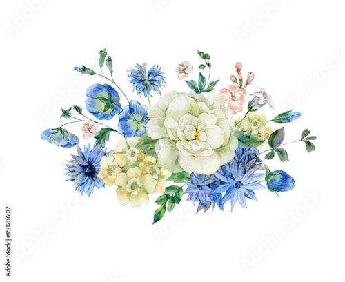 Leinwandbilder - Watercolor bouquet with blue blooming wild flowers