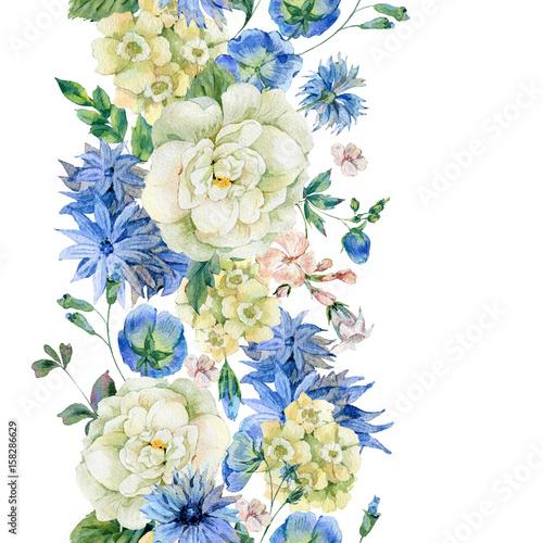 Leinwandbilder - Watercolor seamless border with blue wild flowers