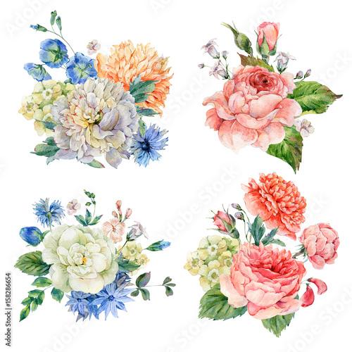 Leinwandbilder - Set of vintage watercolor roses and peonies