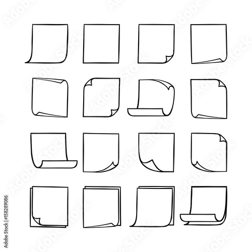 Fototapety, obrazy: Vector black and white stick notes, collection of hand-drawn sheets of note paper with place for your text and message, isolated monochrome sticky note with curled corners, EPS 8