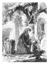 Praying Widow Accompanied By Toddlers, Kneeled In Front Of A Small Rural Chapel With Holy Mary Statue, Vintage Engraving