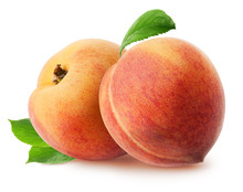 Peach Isolated. Two Whole Peach Fruits With Leaves Isolated On White With Clipping Path-2