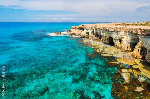 Foto op Plexiglas Cyprus Rock cliffs and azure sea water near Cavo Greko peninsula, Cyprus island