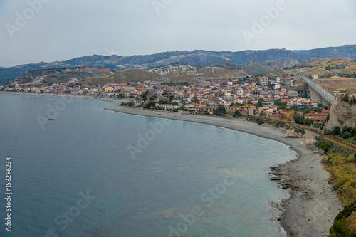 Fotografie, Obraz  Aerial view of Bova Marina Town, a Mediterranean beach of Ionian Sea - Bova Mari