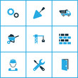 Construction Colorful Icons Set. Collection Of Gear, Tip Truck, Screwdriver And Other Elements. Also Includes Symbols Such As Mechanical, Wall, Car.
