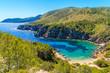 View of secluded Cala d'en Serra beach and coastal cliff rocks, Ibiza island, Spain