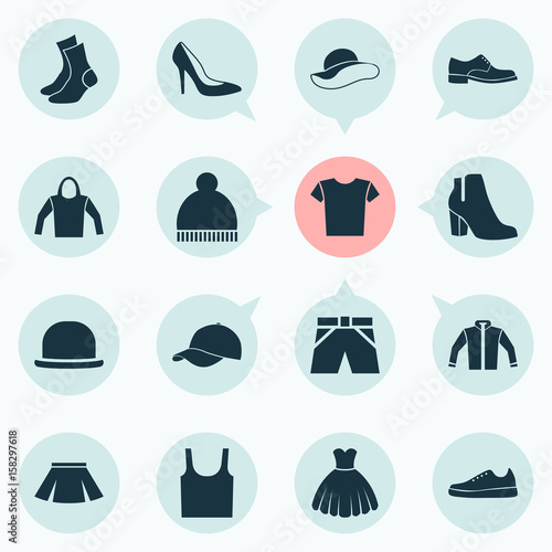 e209dc34 Garment Icons Set. Collection Of Trilby, Stylish Apparel, Beanie And Other  Elements. Also Includes Symbols Such As Shirt, Casual, Singlet.