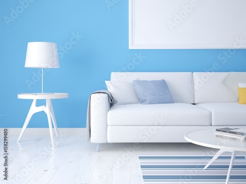 Fototapety, obrazy: Mock up a Scandinavian living room with a light sofa and a stylish lamp.