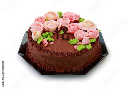 Chocolate Cake With Butter Cream Roses For The 18th Birthday