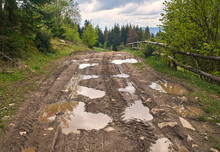 Broken Country Dirt Road In Spring Mountains With Lots Of Muddy Puddles After The Rain