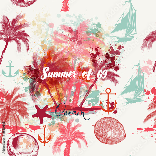 piekny-tropikalny-wakacje-wzor-z-rozowymi-palmami-i-grunges-lato-i-odpoczynek-nad-oceanem