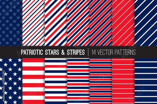 Patriotic Red White Blue Stars & Stripes Vector Patterns Canvas Print