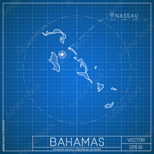 bahamas blueprint map template with capital city nassau marked on