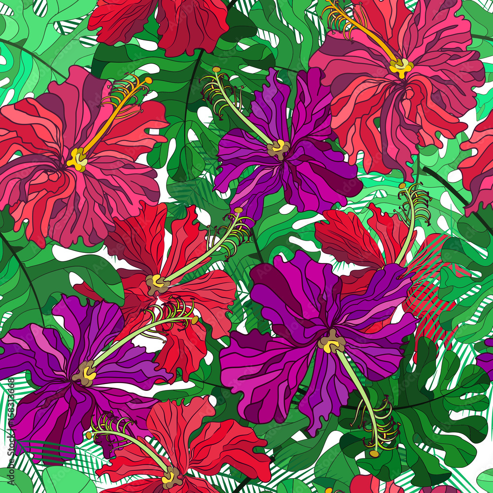 Photo Stands Vector Floral Ethnic Seamless Pattern In Doodle Style