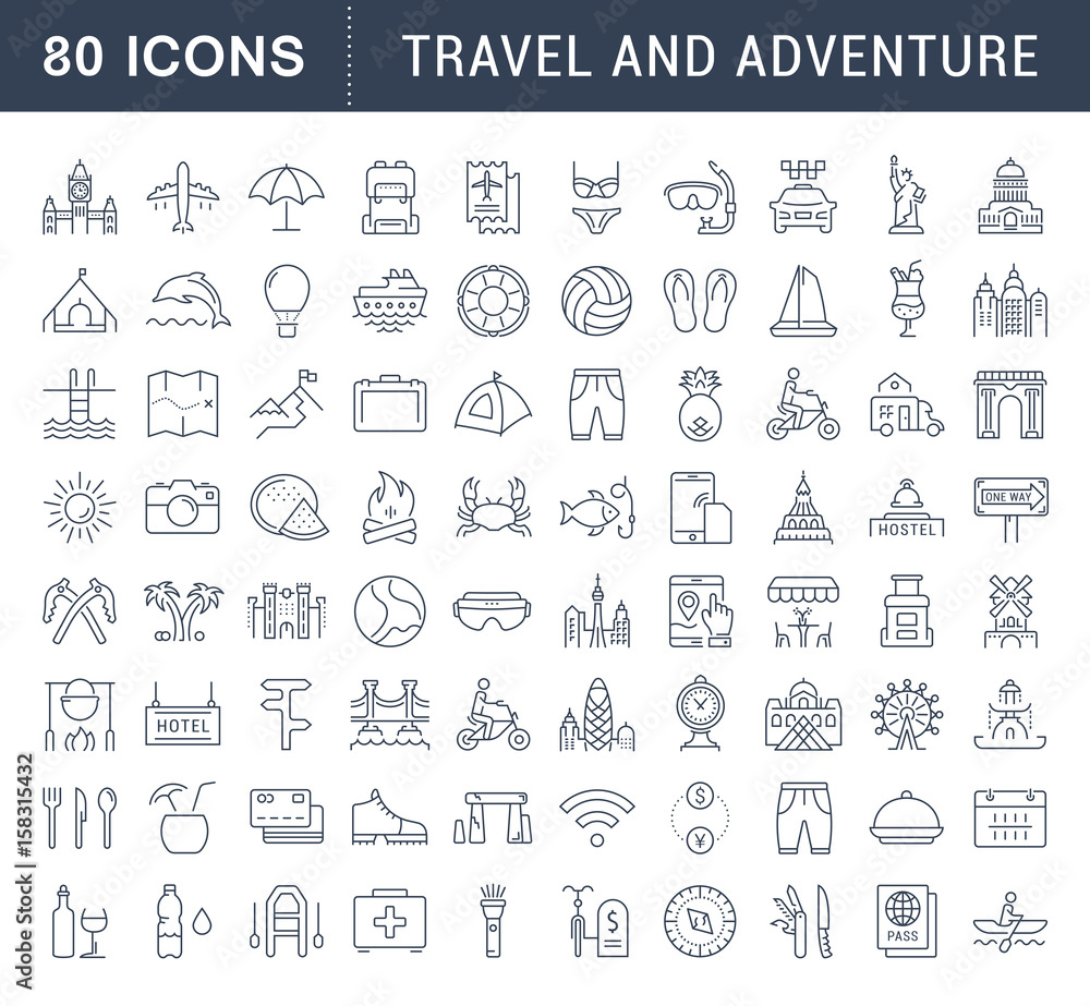 Fototapety, obrazy: Set Vector Flat Line Icons Travel and Adventure