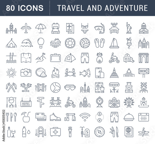 Photo  Set Vector Flat Line Icons Travel and Adventure