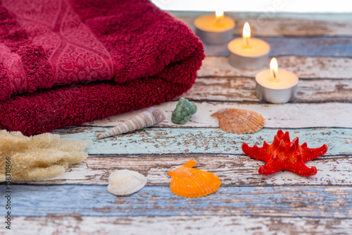 Fotografie, Obraz  Summer spa concept with seashells, towel, and candles