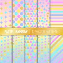 Pastel Rainbow Geometric Seaml...