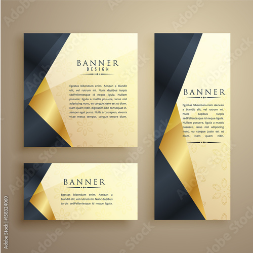 elegant set of three premium banners or card design template
